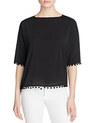 French Connection Polly Plains Pompom Tee Black