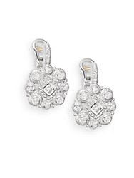 Judith Ripka La Petite White Sapphire And Sterling Silver Snowflake Cluster Drop Earrings