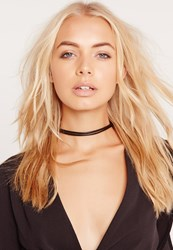 Missguided Double Layer Faux Leather Choker Black Black