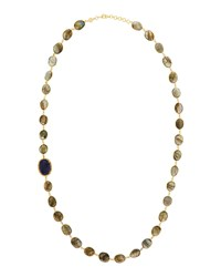 Bettina Duncan Long 14K Gold Filled Labradorite Lapis And Diamond Station Necklace