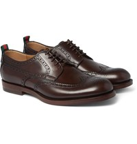 Gucci Stripe Trimmed Leather Brogues