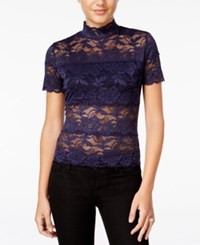 Guess Shayna Mock Turtleneck Lace Top Evening Navy