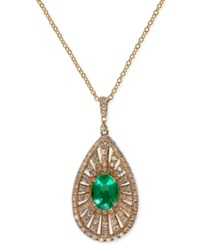 Effy Collection Brasilica By Effy Emerald 1 1 10 Ct. T.W. And Diamond 4 5 Ct. T.W. Pendant Necklace In 14K Gold Yellow Gold