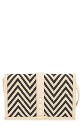 Big Buddha Faux Leather Crossbody Wallet Ivory Zigzag Bone