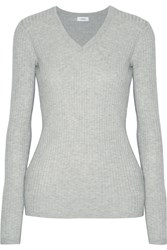 Vince Ribbed Knit Sweater Gray