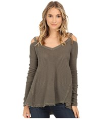 Free People Moonshine V Neck Fatigue Women's Sweater Green