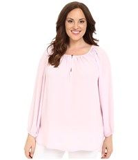 Vince Camuto Plus Size Long Sleeve Shirred Neck Peasant Blouse Sugar Petal Women's Blouse Pink