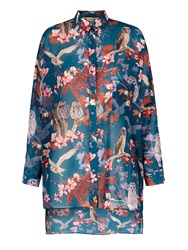 Yumi Owl And Flower Print Oversized Shirt Teal
