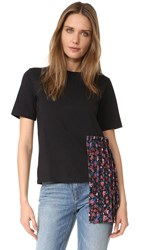 Edit Gather Tee Shirt Black Red Floral Print