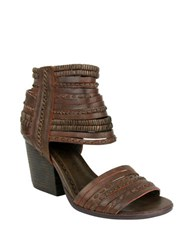 Naughty Monkey Strappy And Happy Leather Stacked Heel Sandals Rust