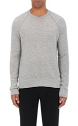 James Perse Men's Thermal Stitched Cashmere Raglan Sweater Grey