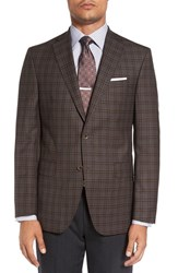 David Donahue Men's Big And Tall 'Connor' Classic Fit Plaid Sport Coat Mid Brown