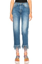 Msgm Frayed Jeans In Blue