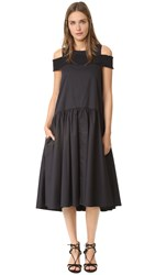 Tibi Smocked Cold Shoulder Dress Black