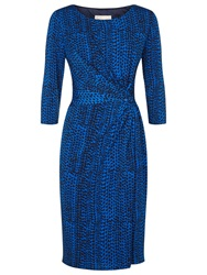 Planet Ruched Print Jersey Dress Mid Blue
