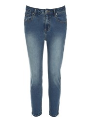 Jane Norman Cropped Zip Detail Jeans Blue