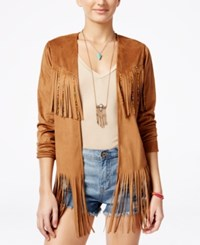 American Rag Faux Suede Fringe Jacket Only At Macy's Tan