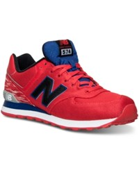 New Balance Men's 574 Summer Waves Casual Sneakers From Finish Line Red White