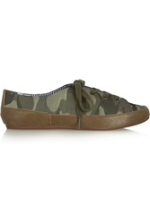 Charles Philip Bianca Camouflage Cotton Canvas And Faux Leather Sneakers