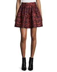 Alice Olivia Stora Pleated Tribal Print Skirt Red Orange