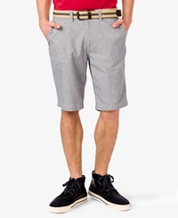 Forever 21 Pinstripe Chambray Shorts Blue Cream