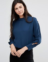 Lavand Blouse With Open Arm Holes In Blue B Blue