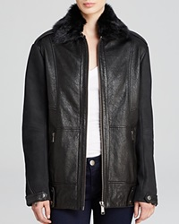Andrew Marc New York Andrew Marc Nina Fur Collar Leather Jacket Black