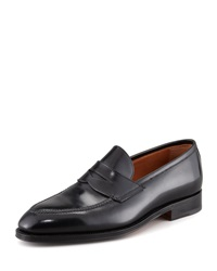 Bontoni Principe Leather Penny Loafer Black Black 45 12.0D