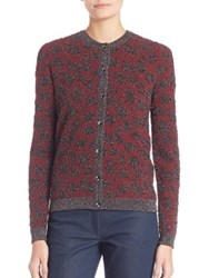 Escada Animal Print Cardigan Dark Red