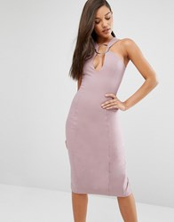 Lavish Alice Metal Ring Plunge Detail Midi Dress Mauve Pink