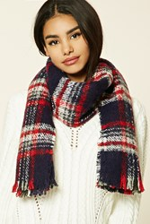 Forever 21 Frayed Plaid Oblong Scarf Navy Red