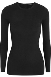 Adam By Adam Lippes Open Back Ribbed Stretch Cashmere Sweater Black