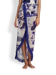 Jean Paul Gaultier Sheer Print Wrap Skirt Indigo