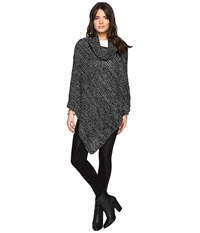 Steve Madden Waffle Knit Turtleneck Poncho With Button Black Women's Clothing