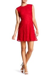 Maggy London Cap Sleeve Lace Fit And Flare Dress Petite Red