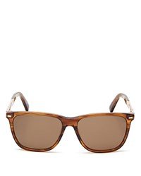 Zegna Wayfarer Wood Temple Sunglasses 56Mm Shiny Striped Light Brown Rose Gold