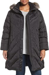 London Fog Plus Size Women's Quilted Coat With Faux Fur Trim