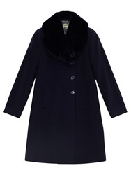 Precis Petite Jeff Banks Faux Fur Collar Coat Dark Blue