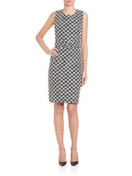 Pauw Belted Jacquard Sheath Black White