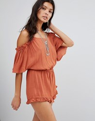 Mango Cold Shoulder Ruffle Detail Playsuit Med Brown White