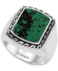 Effy Men's Manufactured Turquoise Ring 3 9 10 Ct. T.W In Sterling Silver And Black Lacquer Blue