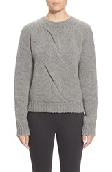 Pink Tartan Twisted Cable Wool Sweater Heather Grey