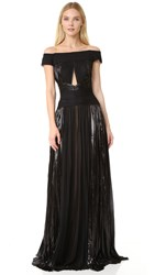 J. Mendel Off The Shoulder Gown Noir