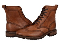 Frye James Lug Wingtip Boot Cognac Smooth Full Grain Men's Lace Up Boots Red