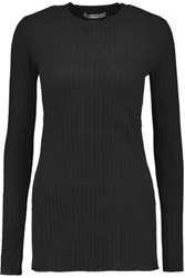 Autumn Cashmere Ribbed Sweater Black