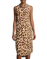 Equipment Tegan Cheetah Print Belted Sleeveless Shirtdress