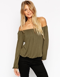 Asos Off Shoulder Top In Slouchy Fabric Khaki