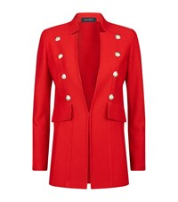 St. John Pique Knit Pearl Applique Jacket Female Red