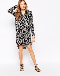 Vero Moda Printed Long Sleeve Shirt Dress Greyanimal