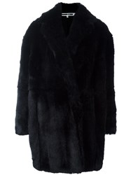 Mcq By Alexander Mcqueen Oversized Faux Fur Coat Black